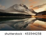 mountain lake and traffic light ... | Shutterstock . vector #453544258