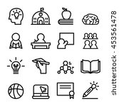school icon set in thin line... | Shutterstock .eps vector #453561478