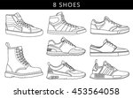 8 cool shoes  vector  icon ... | Shutterstock .eps vector #453564058