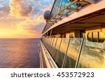 Sunset from the open deck of luxury cruise ship - stock photo