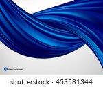 blue silk or satin fabric on... | Shutterstock .eps vector #453581344