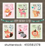 birthday cards with birthday... | Shutterstock .eps vector #453581578