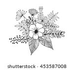 flower doodle drawing freehand... | Shutterstock .eps vector #453587008