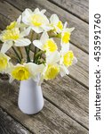 white daffodils at china vase... | Shutterstock . vector #453591760