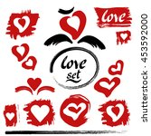hearts vector. love set. hand... | Shutterstock .eps vector #453592000