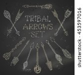 vector set of chalk tribal... | Shutterstock .eps vector #453597016
