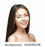 woman smile. teeth whitening.... | Shutterstock . vector #453598198
