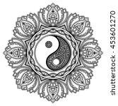 vector henna tatoo mandala. yin ... | Shutterstock .eps vector #453601270