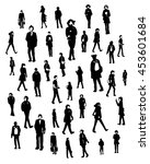 silhouettes of walking people ... | Shutterstock .eps vector #453601684