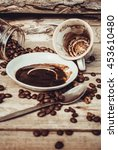 Small photo of The drinking morning coffee . Everyone loves coffee. Low contrast. guesswork.