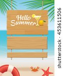 Summer Wooden Sign On Tropical...