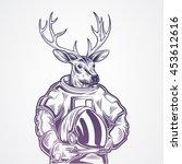 hand draw deer  | Shutterstock .eps vector #453612616