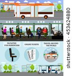 passengers in public transport... | Shutterstock . vector #453624880