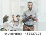 confident businessman. joyful... | Shutterstock . vector #453627178