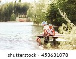 children rest and play on the... | Shutterstock . vector #453631078