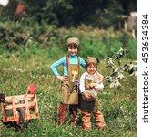 the little girls gardener... | Shutterstock . vector #453634384