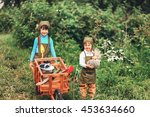 the little girls gardener... | Shutterstock . vector #453634660