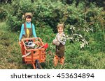 the little girls gardener... | Shutterstock . vector #453634894