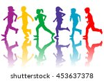 colorful silhouettes of... | Shutterstock . vector #453637378