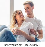 beautiful young couple in... | Shutterstock . vector #453638470