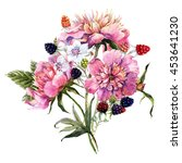 Watercolor Floral Card  Peony...