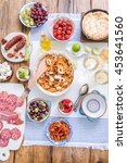 spanish food  paella and tapas... | Shutterstock . vector #453641560