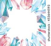 watercolor gem stones square...   Shutterstock . vector #453644593