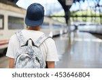 back view of teenage school boy ... | Shutterstock . vector #453646804
