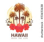 travel tropical card hawaii.... | Shutterstock .eps vector #453653638
