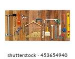 set of tools hanging on wood... | Shutterstock . vector #453654940