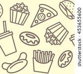 fast food background pattern... | Shutterstock . vector #453655600