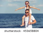 handsome young dad and his cute ... | Shutterstock . vector #453658804