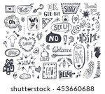 doodle speech and thought... | Shutterstock .eps vector #453660688