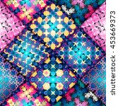 abstract seamless patchwork... | Shutterstock .eps vector #453669373