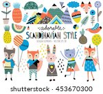 Stock vector cute scandinavian style animals and design elements vector 453670300