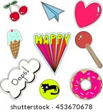 set of quirky cartoon patch... | Shutterstock .eps vector #453670678