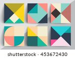 Set of geometric design cards. Applicable for Covers, Voucher, Posters, Flyers and Banner Designs. | Shutterstock vector #453672430