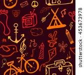 funny vector pattern of doodles ... | Shutterstock .eps vector #453673978