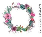 watercolor exotic flower summer ...   Shutterstock . vector #453676324