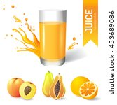 juice in glass and fruits icons | Shutterstock . vector #453689086