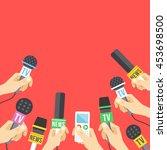 hands with microphones.... | Shutterstock .eps vector #453698500