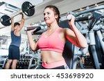 woman and man having sport... | Shutterstock . vector #453698920
