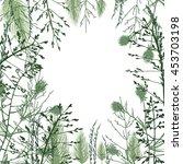 wild herbs and flowers vector...   Shutterstock .eps vector #453703198