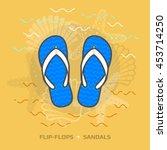flat illustration of flip flops ... | Shutterstock .eps vector #453714250
