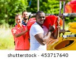 group of friends unloading... | Shutterstock . vector #453717640