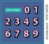 set of 3d numbers in retro... | Shutterstock .eps vector #453718528