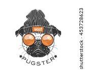 portrait of pug boy hipster ... | Shutterstock .eps vector #453728623