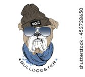 english bulldog hipster... | Shutterstock .eps vector #453728650