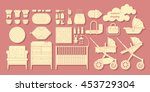 icons newborn products. cribs ... | Shutterstock .eps vector #453729304