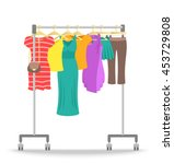 hanger rack with women clothes... | Shutterstock .eps vector #453729808